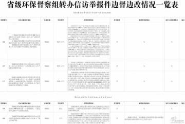 省级环保督察组转办信访举报件边督边改情况一览表
