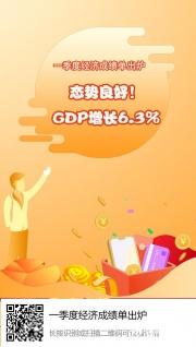 一季度经济成绩单出炉,GDP增长6.3%