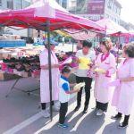 禹城市伦镇计生协会组织发放宣传材料