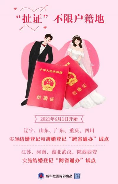 """6月1日起山东试点推行婚姻登记""""跨省通办"""""""